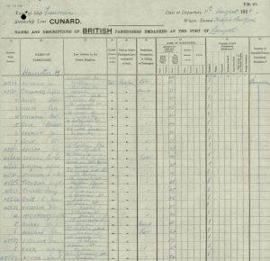 "'Franconia"" passenger list August 1928"